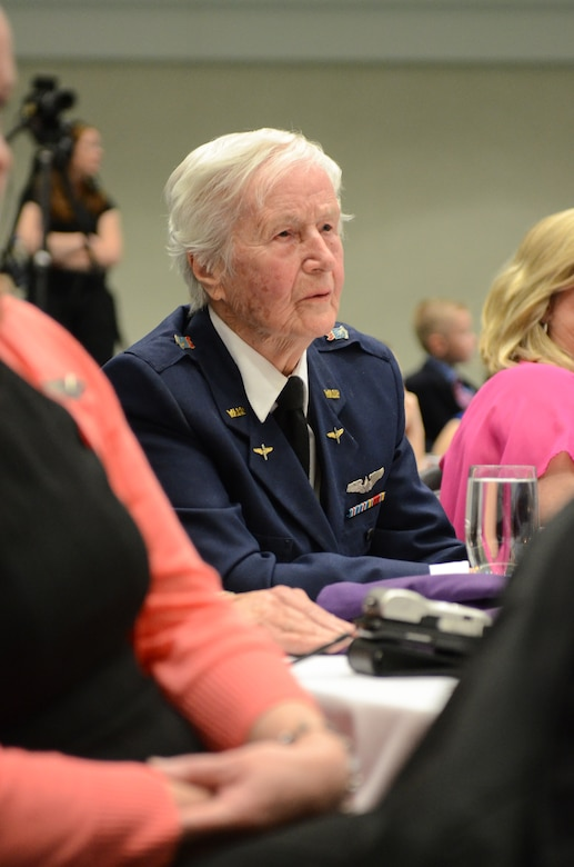 Florence Shutsy Reynolds, 91, a former member of the Women Airforce Service Pilots corps during World War II, attends the Kentucky National Guard's Airman and Soldier of the year Banquet in Louisville, Ky., March 22, 2014. The WASP program's primary focus was to reassign responsibility for flight operations over the United States from male to female pilots, freeing men to go to war. (U.S. Air National Guard photo by Staff Sgt. Vicky Spesard)