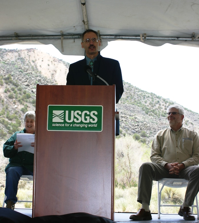 EMBUDO, N.M., -- During the 125th anniversary of the USGS Embudo streamgage, Mark Yuska, the District's Operations Division chief, spoke about the importance of the USGS-Albuquerque District, Corps of Engineers partnership of more than 75 years.