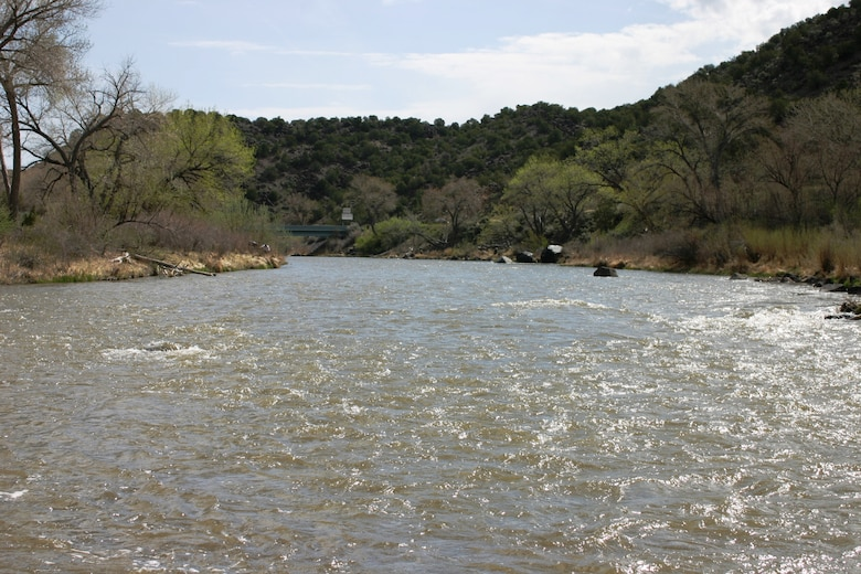 EMBUDO, N.M., -- Looking upstream on the Rio Grande from the streamgage.  The streamgage here was the first U.S. Geological Survey streamgage in the United States and was established in 1889.