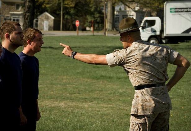 U.S. Marine Corps Staff Sgt. Dale Barbitta, a drill instructor at the U.S Naval Academy and native of Akron, Ohio, corrects poolees during Recruiting Station Baltimore's statewide pool function at Aberdeen Proving Grounds, Aberdeen, Md., April 26, 2014. The pool function allowed drill instructors a chance to familiarize the poolees with the mannerisms and actions of a drill instructor prior to their leaving for Marine Corps Recruit Depot Parris Island, S.C. ( U.S. Marine Corps photo by Sgt. Bryan Nygaard/Released)