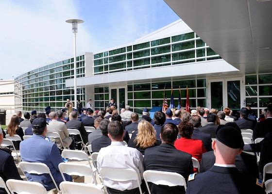 DIA Director Lt. Gen. Michael T. Flynn gives his remarks during a building dedication ceremony in honor of the late Col. James N. Rowe at the DIA Field Support Activity Rivanna Station in Charlottesville, Va.