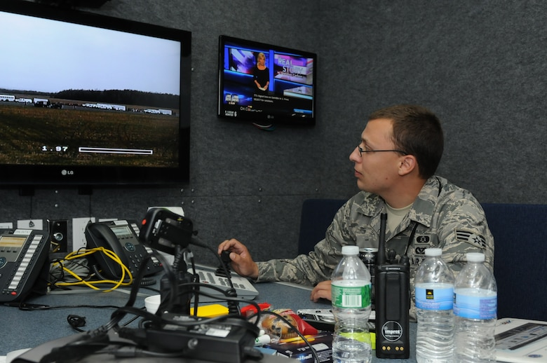 Senior Airman Joseph Manning monitors a camera from the Mobile Emergency Operations Center during the Homeland Response Force exercise on 29 APR 2014. The MEOC is a command and control element for major responses. (New York Air National Guard Photo by Senior Airman Duane Morgan)