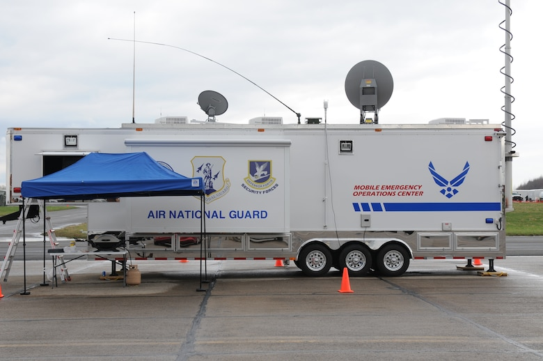 The 174th Attack Wing FEMA Region II Mobile Emergency Operations Center deployed at the New York State Preparedness Training Center in support of New York National Guard Homeland Response Force training in Oriskany, NY. (New York Air National Guard Photo by Senior Airman Duane Morgan)