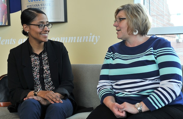 Airman 1st Class Ginelle Metiviet, 341st Missile Security Forces Squadron (left) talks with Carol Berg, her Great Falls Great Friends sponsor April 28. The program was launched in October and matches Airmen in the grades of E-1 through E-5 and O-1 through O-3 with civilian volunteers from the Great Falls community.  (U.S. Air Force photo / John Turner)