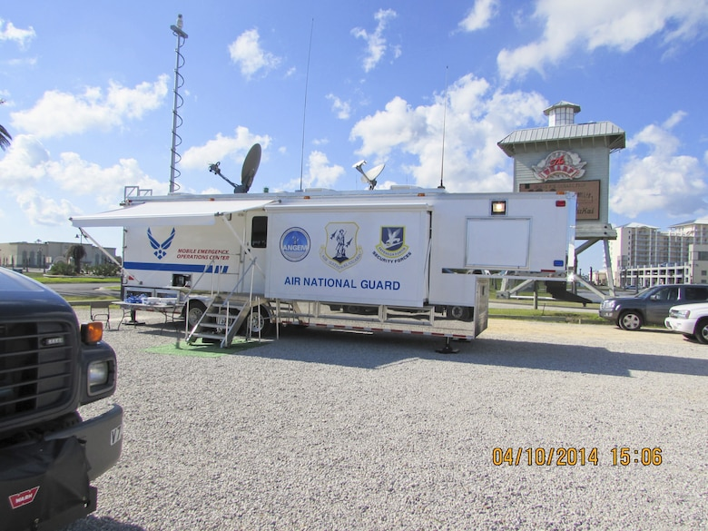 The 117th Air Refueling Wing's Mobile Emergency Operations Center (MEOC) heads to south Alabama to participate in a simulated Catagory 5 hurricane exercise. (U.S. Air National Guard photo by Master Sgt. Richard Bailey/Released)