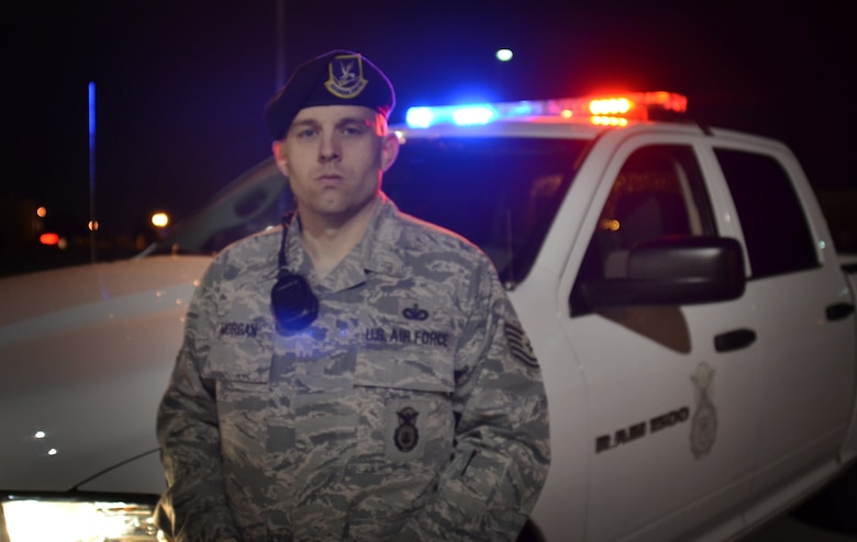 Tech. Sgt. Brian Morgan, 72nd Security Forces Squadron, put his training into action in the early morning hours of April 1 when he responded to an injury accident on the east side of the Tinker Golf Course. (Air Force photo by Micah Garbarino)