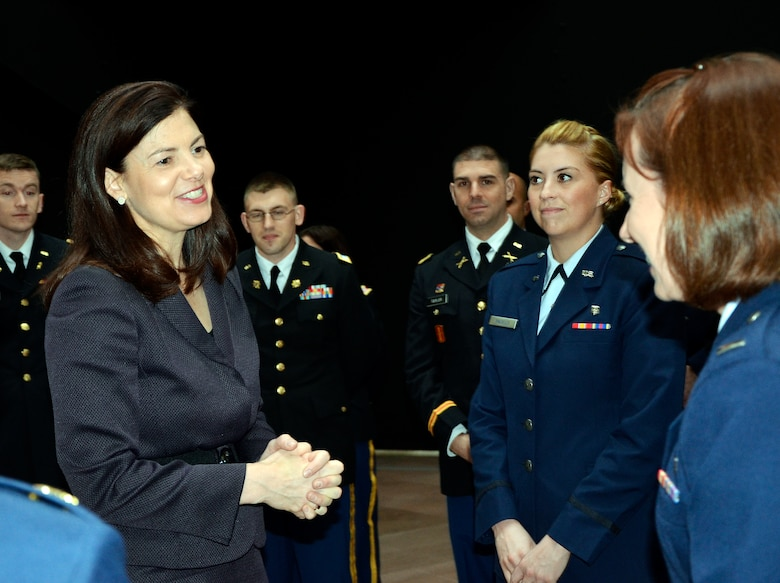 WASHINGTON -- U.S. Senator Kelly Ayotte (left) spoke with Company Grade Officers with the New Hampshire National Guard on April 30 in the Hart Senate Building in Washington, D.C. The visit was part of a two-day CGO Professional Development Tour. (U.S. Air Force Photo by 2nd Lt. Brooks Payette/Released)