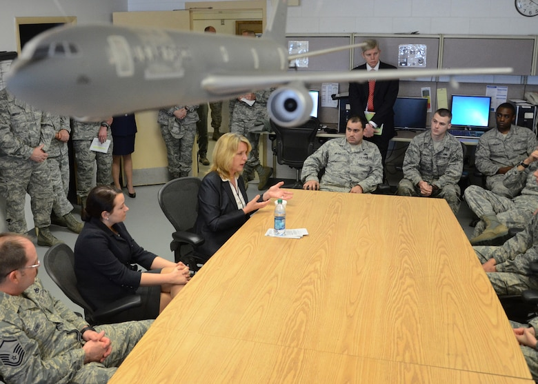 PEASE AIR NATIONAL GUARD BASE, N.H. -- Secretary of the Air Force Deborah Lee James speaks with members of the 157th Maintenance Group during a visit here May 2. During her visit, James met with senior leaders from the N.H. Air National Guard and the 157 ARW to discuss Total Force Integration, the State Partnership Program and Chemical, Biological, Radiological, Nuclear and High-Yield Explosive Enhanced Response Force Package (CERFP) mission. In addition, she received a windshield tour of the base, held an all-call with Airmen, and met with members of the N.H. Sexual Assault Prevention Response team. (U.S. Air Force Photo by Tech. Sgt. Mark Wyatt/RELEASED)