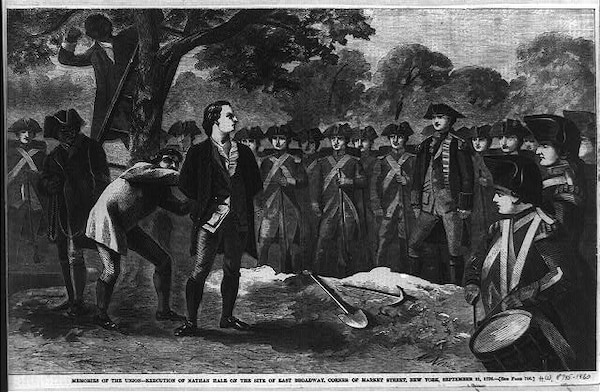 Memories of the Union - execution of Nathan Hale on the site of east Broadway, corner of Market Street, New York, September 21, 1776 / M. Nevin.