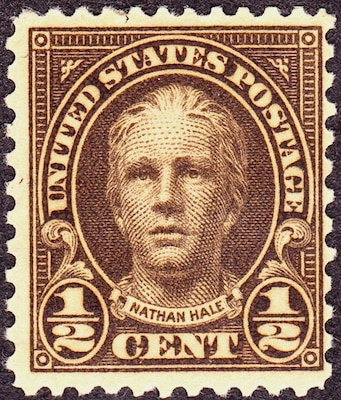 Nathan Hale postage stamp issued between 1925 and 1929.