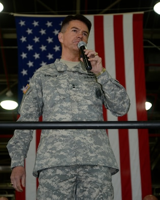 Utah Adjutant General, Maj. Gen. Jefferson Burton addresses the Utah Air National Guard at the beginning of Wingman Day.  The UTANG holds Wingman Day annually to give their Airmen a chance to learn how to take better care of themselves physically, mentally, emotionally and spiritually.  Burton reminded the Airmen that today was a day for them to take care of themselves from the neck up. (Utah Air National Guard Photo by TSgt Kelly Collett/Released)