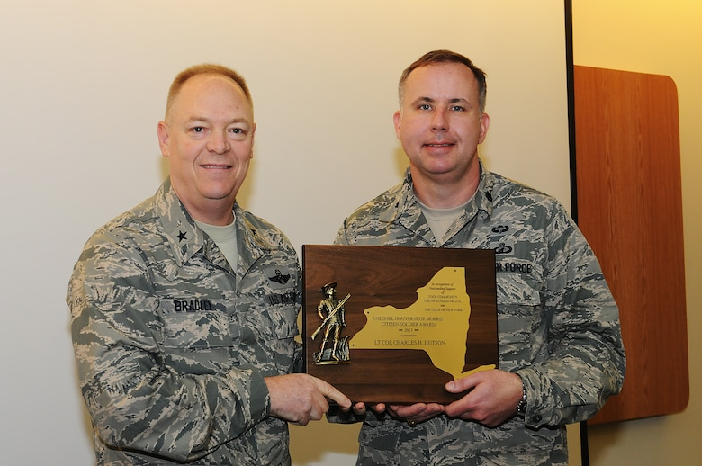 May 3, 2014, Lt. Col. Charles H. Hutson was presented with the Colonel Gouverneur Morris Citizen Soldier Award by Brigadier General Kevin W. Bradley for his dedication and service to his community.  (Photo by New York Air National Guard Tech. Sgt. Justin A. Huett)