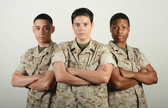 Master Sgt. Alejandra Medina, retail chief, Marine Corps Exchange (center); Sgt. Stephanie Bowens, postal clerk, Official Mailroom (right); and Cpl. Franklin Good, administrative specialist, Military Personnel Center; all with Marine Corps Logistics Base Albany, will travel to Camp Lejeune, North Carolina, Saturday, to attend a casting call for Marine Corps Recruiting Command. The casting call is being held to identify Marines to be featured in several different initiatives including a new television commercial, video and photo shoots across several installations, social media campaigns and community engagement events.