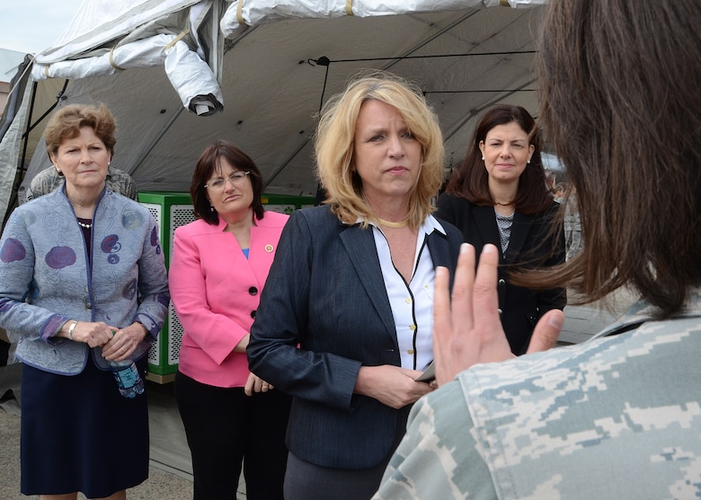 Secretary of the Air Force Deborah Lee James and several state senators listen to Capt. Tori Scearbo May, 2, 2014, as she discusses part of the mission at Pease Air National Guard Base, N.H. Scearbo is a member of the New Hampshire Air National Guard as a 157th Medical Group nurse. (U.S. Air Force photo/Tech. Sgt. Mark Wyatt)