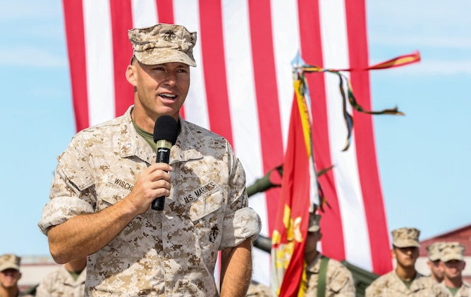 Lieutenant Col. William D. Wischmeyer, executive officer, 15th Marine Expeditionary Unit, reflects on his time in the Corps during his retirement ceremony aboard Camp Pendleton, Calif., May 1, 2014. Wischmeyer, 48, is from Clay, S.D. (U.S. Marine Corps photo by Cpl. Emmanuel Ramos/Released)