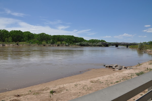 ALBUQUERQUE, N.M., -- Photo of the Rio Grande from Tingley Beach at Central Bridge, May 5, 2014. The photo shows the river before flows increase in an effort to help the Rio Grande silvery minnow spawn.