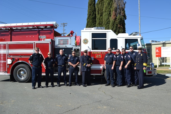 Firefighters attend a ground breaking ceremony for renovations to their fire station at Military Ocean Terminal Concord in Concord, Calif., April 16, 2014. The U.S. Army Corps of Engineers Sacramento District is working with MOTCO to modernize infrastructure throughout the critical military port.