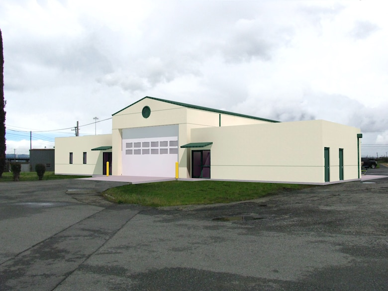 A rendering of Tidal Fire Station #26 at Military Ocean Terminal Concord in Concord, Calif., showing planned renovations. A $3.5 million renovation of the station to accommodate modern fire engines and improve living quarters began in April 2014.