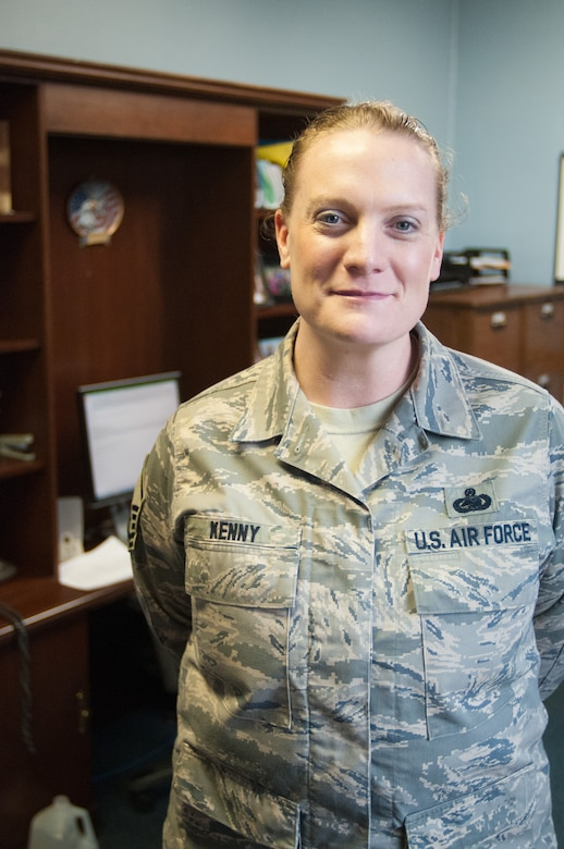 Master Sgt. Victoria Kenny, of the 102nd Intelligence Wing's Fuels shop, stands in her office on 31 March, 2014. Sgt. Kenny recently became the new First Sergeant for the 102nd Mission Support Group. (National Guard photo by Master Sgt. Aaron Smith/Released)