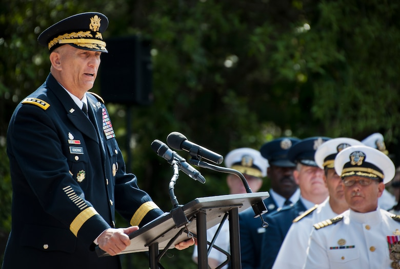 Army Chief of Staff Gen. Ray Odierno speaks to explosive ordnance disposal technicians from all services and their families during the 45th Annual EOD Memorial Ceremony May 3, at Eglin Air Force Base, Fla. Eight new names of Army and Marine EOD technicians, who lost their lives, were added to the Memorial Wall this year.  The all-service total now stands at 306. (U.S. Air Force photo/Tech. Sgt. Sam King)