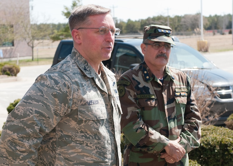 Col. James Lefavor hosts high-ranking Paraguayan officers and their aides on April 16, 2014 as they visit Otis Air National Guard base during their week-long trip to Massachusetts. Maj. Gen. Carlos Antonio Caballero Maidana and Brig. Gen. Aparicio Diego Zarate Vidal, of the Paraguayan Army and Air Force, were visiting Massachusetts as part of the State Partnership Program. The National Guard program pairs a state's National Guard with the armed forces or equivalent of a partner country in a cooperative, mutually beneficial relationship. (National Guard photo by Master Sgt. Aaron Smith / Released)