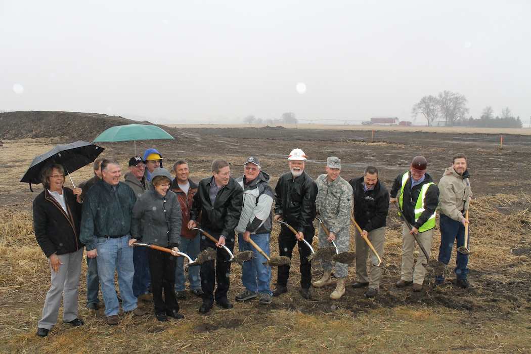 City officials, Omaha District Corps of Engineers and TJC Engineering participate in a groundbreaking ceremony for the Shell Creek levee construction project on March 27, 2014 in Schuyler, Nebraska.