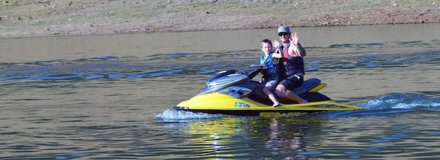 Two boating buddies head out for a skim on Pine Flat Lake, May 3, 2014.