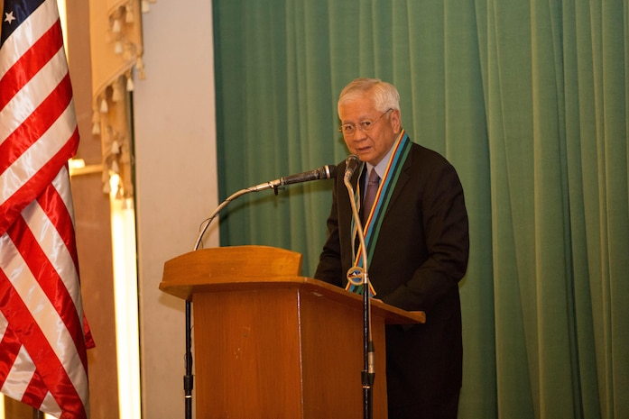 The honorable Albert F. del Rosario, the Philippine Secretary of Foreign Affairs, gives remarks at the exercise Balikatan 2014 opening ceremony here May 5. The ceremony marked the official start of the 30th iteration of Balikatan, an annual bilateral exercise which aims to increase interoperability and strengthen the Philippines-U.S. relationship.