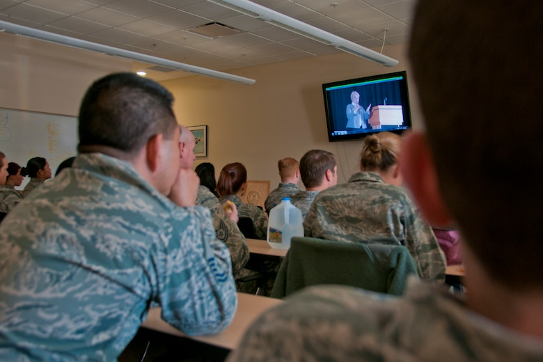 JOINT BASE ELMENDORF-RICHARDSON, Alaska — Members of the 176 Wing staff watch a video here April 24, 2014, of a sexual assualt awareness speaker visiting JBER in 2013. The video was a part of SAPR Stand Down Awareness Day in which all full-time members of the Alaska National Guard participated. Watching the video inspired questions the group discussed with their commanders about sexual assault prevention and response. U.S. Air National Guard photo by Staff Sgt. N. Alicia Halla/ Released