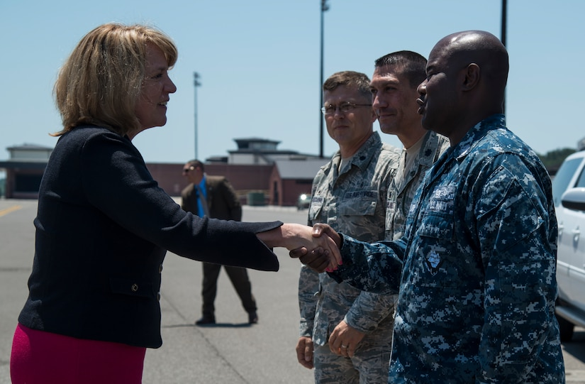 Secretary of the Air Force Deborah Lee James is welcomed by Joint Base Charleston Sailors and Airmen May 6, 2014, on the flight line at JB Charleston, S.C. James is the 23rd Secretary of the Air Force and was appointed to the position Dec. 20, 2013. She is responsible for the affairs of the Department of the Air Force, including organizing, training, equipping and providing for the welfare of its more than 690,000 active-duty, Guard, Reserve and civilian Airmen and their families.  (U.S. Air Force photo/ Airman 1st Class Clayton Cupit)