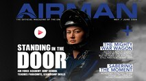 "Our cover story, titled ""Standing in the Door"" tells the story of a brave group of U.S. Air Force Academy cadets who are members of the only parachuting training course where the students perform their first jump by themselves. Its purpose is to develop leadership traits through overcoming their own fears. (U.S. Air Force graphic)"