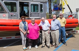 ERDC-CHL held a boat dedication ceremony April 11 to announce the names of five vessels, part of a fleet transferred at no cost to ERDC from the U.S. Coast Guard last year. A contest resulted in names that honor one current and four former CHL employees for their service - pictured from left are Heather Burns Garcia, standing in for her late husband Andrew Garcia, Clara Jean Coleman, retired Lt. Col. William W. Curtis, Dr. William Martin and Terry N. Waller. The boats provide an upgraded capability for fresh and salt water studies.