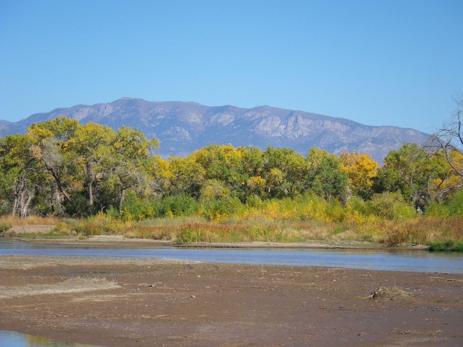 ALBUQUERQUE, N.M., -- A view of the Rio Grande with the Sandia Mountains in the background, Oct. 24, 2012. Photo by Ondrea Hummel.