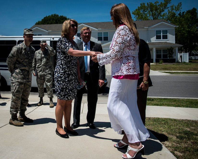 Secretary of the Air Force Deborah Lee James and her spouse, Frank Beatty, meet with members of Forest City Military Housing May 6, 2014, at Joint Base Charleston, S.C. James and Beatty toured a home and spoke with residents about the quality of life and the advantages of living on base. James is the 23rd Secretary of the Air Force and was appointed to the position Dec. 20, 2013. She is responsible for the affairs of the Department of the Air Force, including organizing, training, equipping and providing for the welfare of its more than 690,000 active-duty, Guard, Reserve and civilian Airmen and their families. (U.S. Air Force photo/Senior Airman Dennis Sloan)