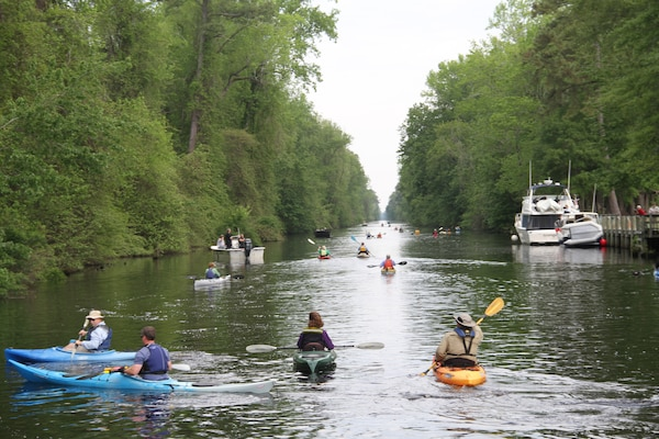 SOUTH MILLS, NORTH CAROLINA -- Paddlers come from as far away as California to participate in the annual Paddle for the Border event. This year 340 people met at the South Mills, N.C. welcome center and paddled 11 miles - and across the Virginia state line - to a picnic area for lunch.