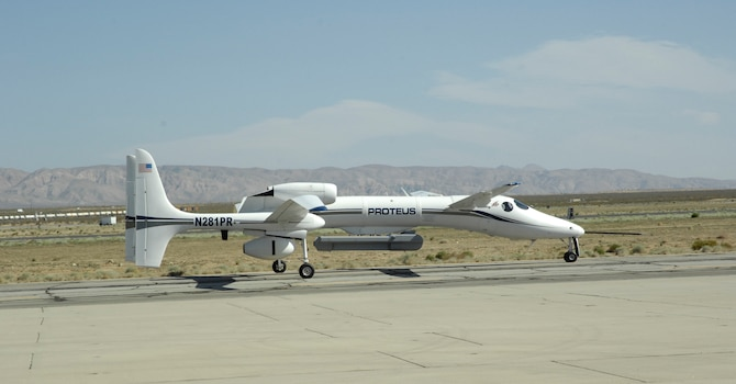 Equipped with the Dismount Detection Radar pod, the Proteus aircraft takes off from the flightline April 22, 2014, at the Mojave Airport Civilian Flight Test Center in California. The flight marked the first developmental test flight of the system. The DDR program office from Hanscom Air Force Base, Mass., led the effort and plans to use the DDR as a model for other open system architecture radar designs. (U.S. Air Force photo/1st Lt. Matthew Cook)