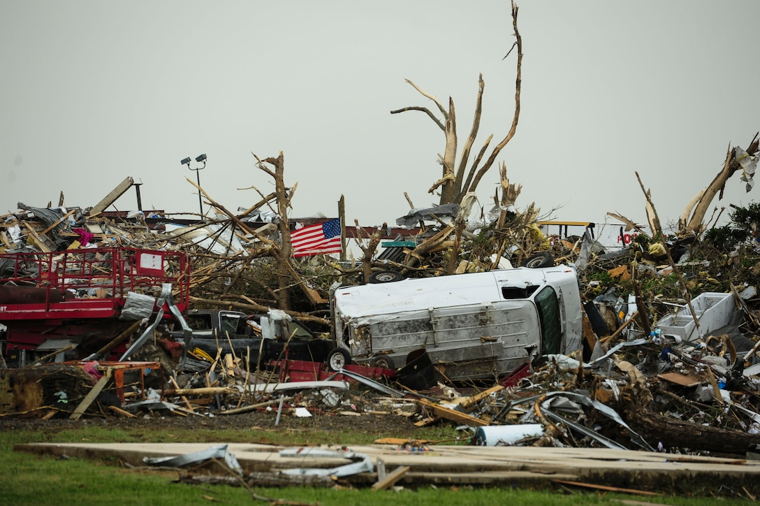 A tornado ripped through the Vilonia, Ark., April 27, 2014, killing at least 15 people, injuring dozens more and destroying multiple homes. Vilonia is approximately 20 miles away from Little Rock Air Force Base, Ark. (U.S. Air Force photo/Senior Airman Kaylee Clark)