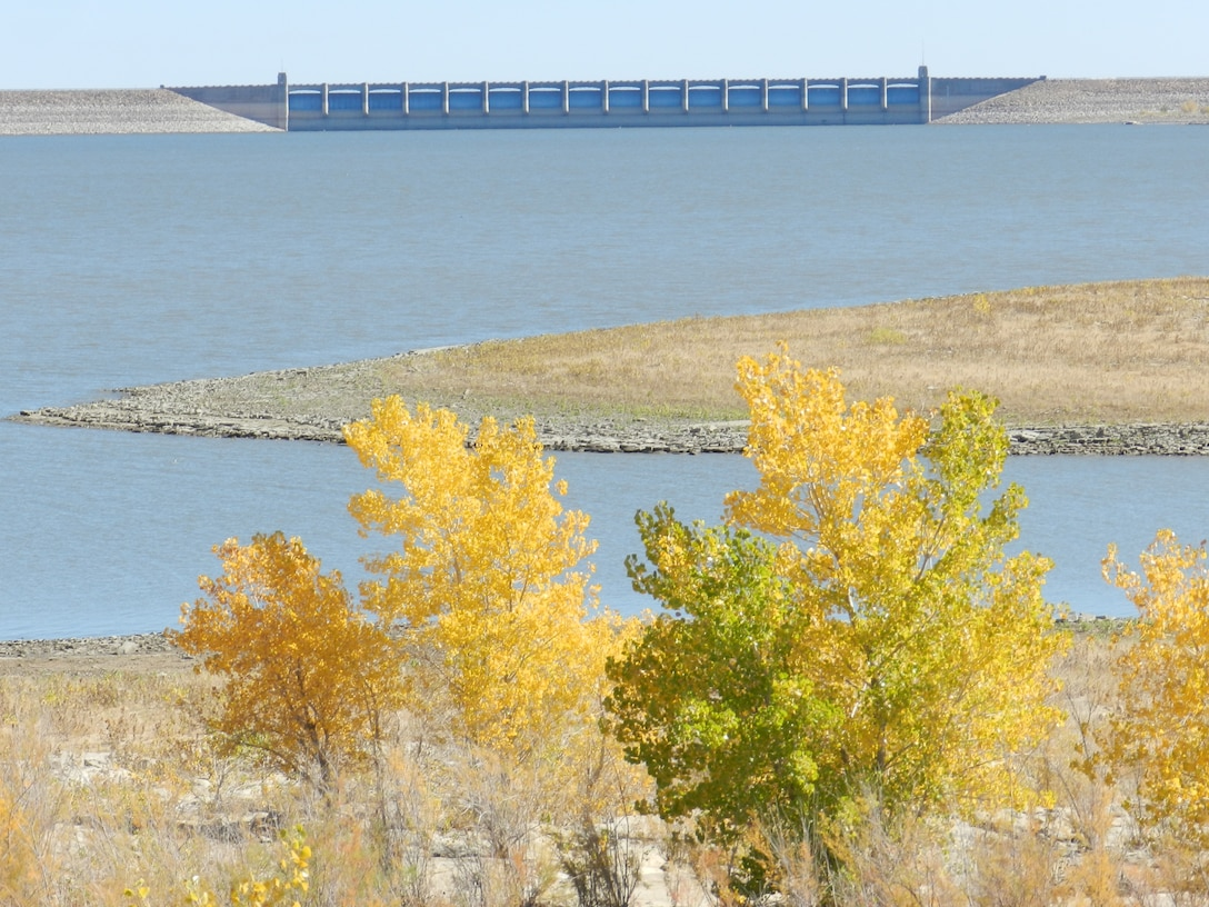JOHN MARTIN DAM, COLO., -- Autumn foliage on the south side of John Martin on Oct. 13, 2012. Photo by Craig Trinkle.