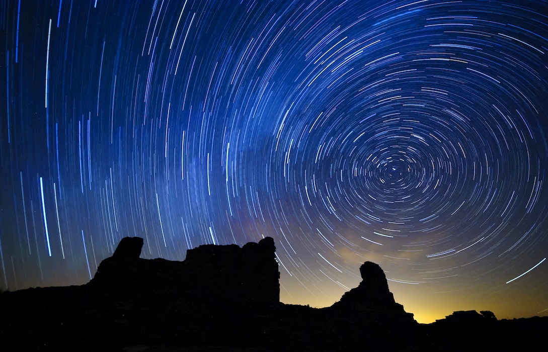 MOUNTAINAIR, N.M., -- Star trail photo take at the Abo Ruins which is part of the Salinas Pueblo Missions located near Mountainair, N.M.  This picture is approximately a 1-hour exposure taken around 1:00 am on Sept. 24, 2012, by Richard Banker. It placed first based on employee voting.
