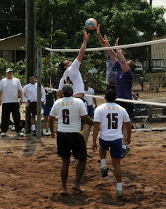 Joint Task Force-Bravo and Honduran Armed Forces servicemembers celebrated the bi-annual Camaraderie Day with sports, fellowship, and friendly competition, May 2, at Soto Cano Air Base, Honduras. The servicemembers competed in men and women's 4x200 relay, volleyball, bicycle relay, and soccer. Despite both teams' best efforts, the Hondurans took home the Camaraderie Day trophy for the fourth straight time. (Photo by U.S. Air National Guard Cpt. Steven Stubbs)