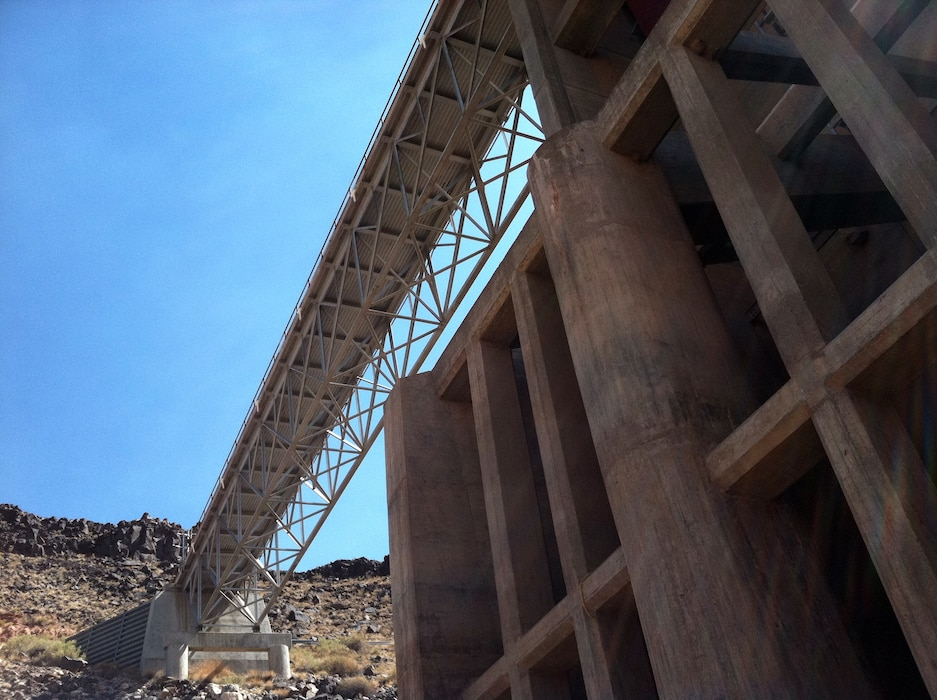 SANTA ANA PUEBLO, N.M., -- Angles of the District's Jemez Canyon Dam. Photo by Corinne O'Hara, June 13, 2011.