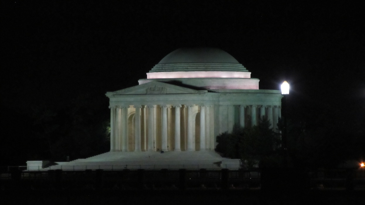 WASHINGTON, D.C., -- The Jefferson Memorial  around midnight after Hurricane Irene had blown through the capital, Aug. 28, 2011.  Maj. Phil Bundy was in Washington, D.C. supporting the Corps' disaster relief efforts.