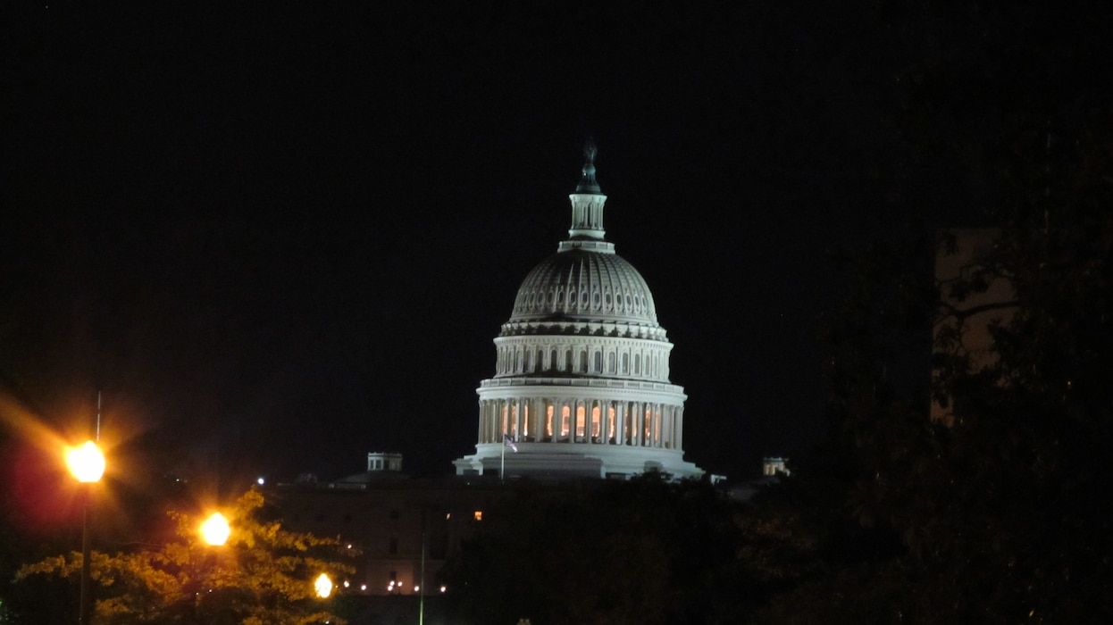 WASHINGTON, D.C., -- The U.S. Capitol Building taken around midnight after Hurricane Irene had blown by the Capitol building, Aug. 28, 2011.  Maj. Phil Bundy was in Washington, D.C. supporting the Corps' disaster relief efforts.
