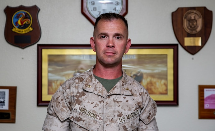 Major Peter D. Nelson, mobility officer, 15th Marine Expeditionary Unit, has spent the past 19 years of his service in the Corps refining his leadership skills. His style of mentorship is the culmination of knowledge from his early enlisted days, to his current rank as a field grade officer. (U.S. Marine Corps photo by Cpl. Emmanuel Ramos/Released)