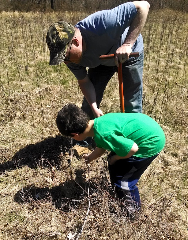 Tionesta Lake Project Staff and 10 of their children, ages eight to15 participated in National Take your Daughters and Sons to Work Day on April 24. Keeping with this year's theme, Plant a Seed; Grow a Future, the children planted two types of saplings, American Chestnuts and Sawtooth Oaks.