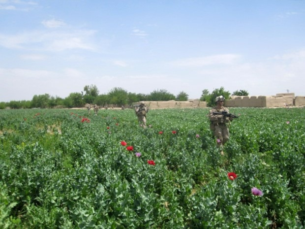 Marines with 1st Battalion, 7th Marine Regiment, patrol through a field in Sangin, Afghanistan, April 8, 2012. The battalion retrograded from Sangin, May 5, 2014, and turned over security responsibility of the area to the Afghan National Army. The infantrymen of 1st Bn., 7th Marines, were the final Marines to occupy FOB Sabit Qadam and the surrounding area in Sangin District.