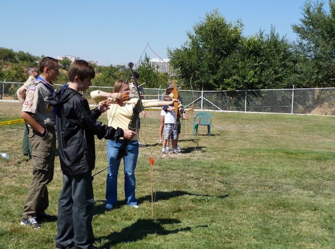 Boy Scouts actively pursue their Archery merit badge Sept. 7, 2013, Ankara, Turkey. There is a strong scouting program in Ankara including Boy Scouts, Girl Scouts and Cub Scouts. (U.S. Air Force photo by Lt Col Emmanuel Cohan/released)