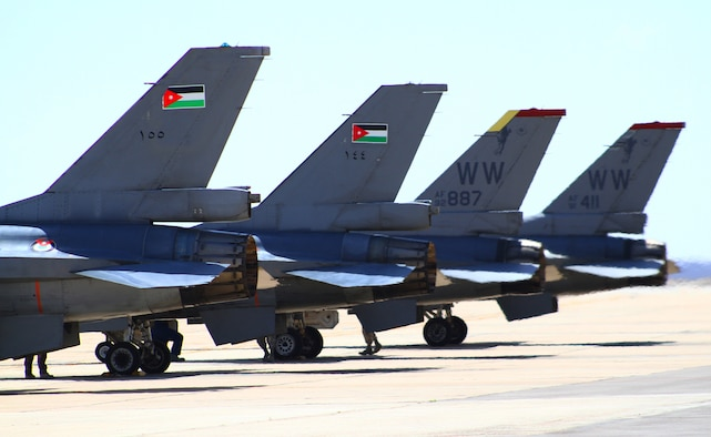 F-16 Fighting Falcons from Jordan and the 13th Fighter Squadron at Misawa Air Base, Japan, wait on the flightline to take off and practice defensive counterair measures during the first day of Exercise Eager Tiger May 11, 2014, at an air base in northern Jordan. Each year, the U.S. and Jordan come together to have friendly competitions aimed at enhancing their real-life techniques. (U.S. Air Force photo by Staff Sgt. Tyler McLain/Released)