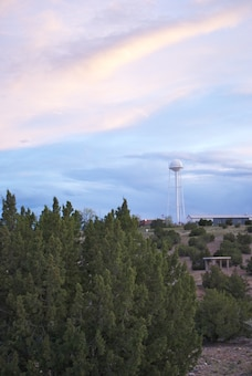 COCHITI LAKE, N.M., -- Clouds over the tower at the District's Cochiti Lake. Photo by David Abbott, May 1, 2010.