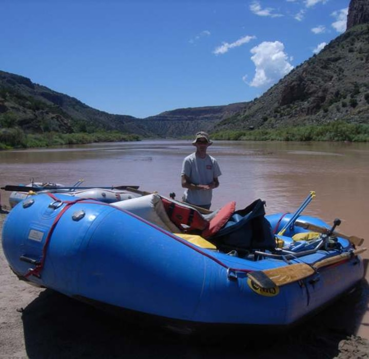 WHITE ROCK CANYON, N.M., -- District Commander Lt. Col. Jason Williams' White Rock Canyon maiden voyage. View is looking downstream on the left bank of the Rio Grande. Photo by John Peterson, Aug. 6, 2010.